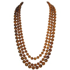Vintage 3 Strand Brown Beaded 1960s Necklace