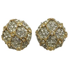 Vintage Clear Crystal Gold-Tone Clip Earrings