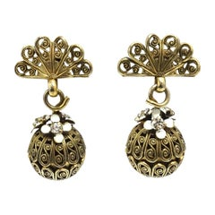 Vintage Enamel & Crystals Gold-Tone Drop Earrings