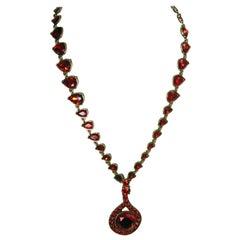 Signed Vintage Oscar de la Renta Red Crystal Drop Necklace