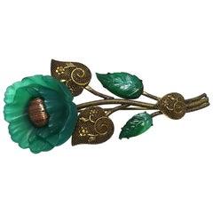 Vintage Green Floral Brooch