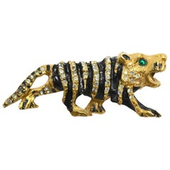 Vintage 1960s Signed Kenneth Jay Lane K.J.L.Tiger Brooch