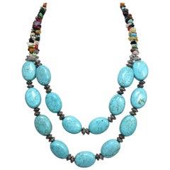 Vintage Faux Turquoise & Multi-Gem Stones Necklace