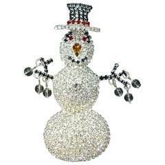 Large Red, Black & Clear Crystals Snowman Brooch