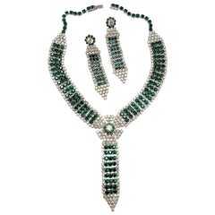 Vintage 1950's Green & Clear Crystals Necklace & Earrings