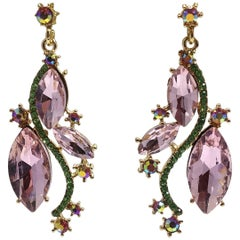 Peridot and Pink Crystals Drop Pierced Earrings