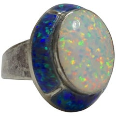 Vintage Signed Moott Opal & Ground Opal Sterling Silver Ring, Sz 8.5