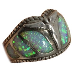 Vintage Signed Lavaggi Opal Sterling Silver Angel Wings Ring, Sz 9