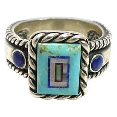 Vintage Signed CQS Turquoise, Lapis & Mother of Pearl Sterling Silver Ring, Sz 9