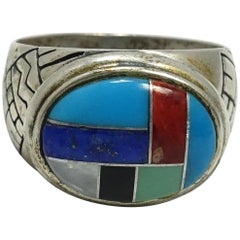 Vintage Turquoise, Coral, Lapis,Onyx,Mother of Pearl Sterling Silver Ring, Sz 10
