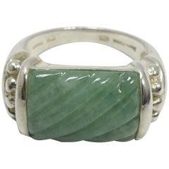 Signed Judith Ripka Jade & Sterling Silver Ring, Sz 10