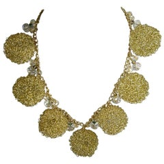 Anka Mesh Balls And Rhinestone Necklace