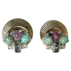 Vintage Boucher Multi-Color Earrings