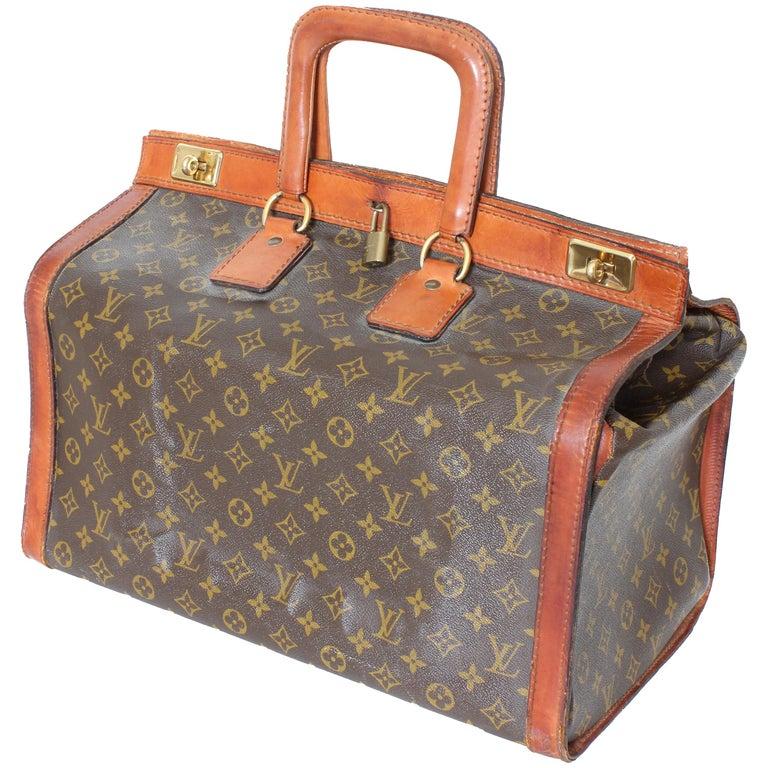 d95b135e16d2 Rare Louis Vuitton Doctors Bag Steamer Tote Keepall Vintage 50s Monogram  Canvas For Sale