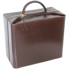 Ultra Rare Hermes Leather Train Case Top Handle Vanity Bag Boite Bouteilles 50s