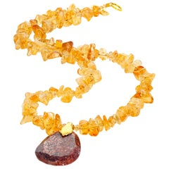 Citrine Chips and Brilliant Glittering Titanium Necklace