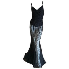 D&G Dolce & Gabbana Sheer Black Lace Vintage Evening Dress with Train