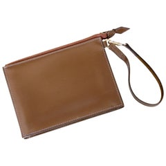 Hermes Pochette Bag Brown Leather Wristlet Bonwit Teller Rare Vintage 1950s