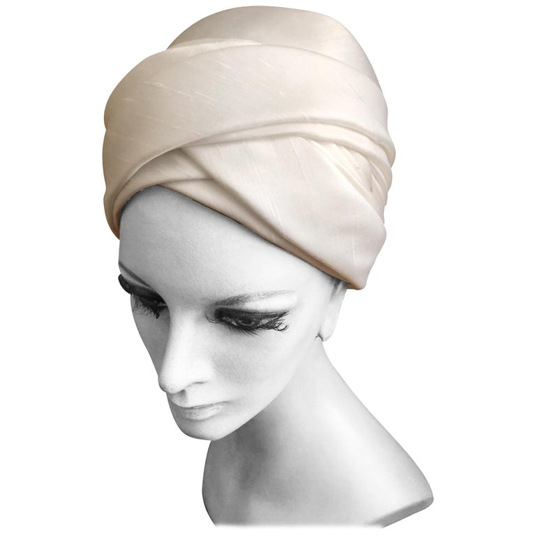 I. Magnin 1960 Deadstock Really Tall White Silk Turban Hat For Sale ... 81ac4f32670