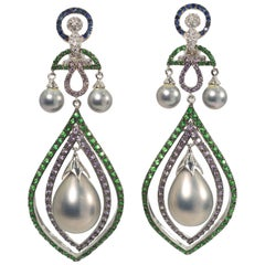 Peacock Feather Cubic Zirconia Pearl  Sterling Rhodium Earrings