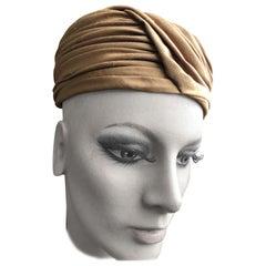 I. Magnin 1960 Deadstock Short Brown Silk Turban Hat