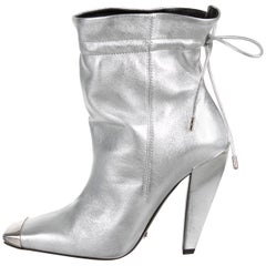 Tom Ford NEW Silver Leather Metal Toe Drawstring Evening Ankle Boots Booties