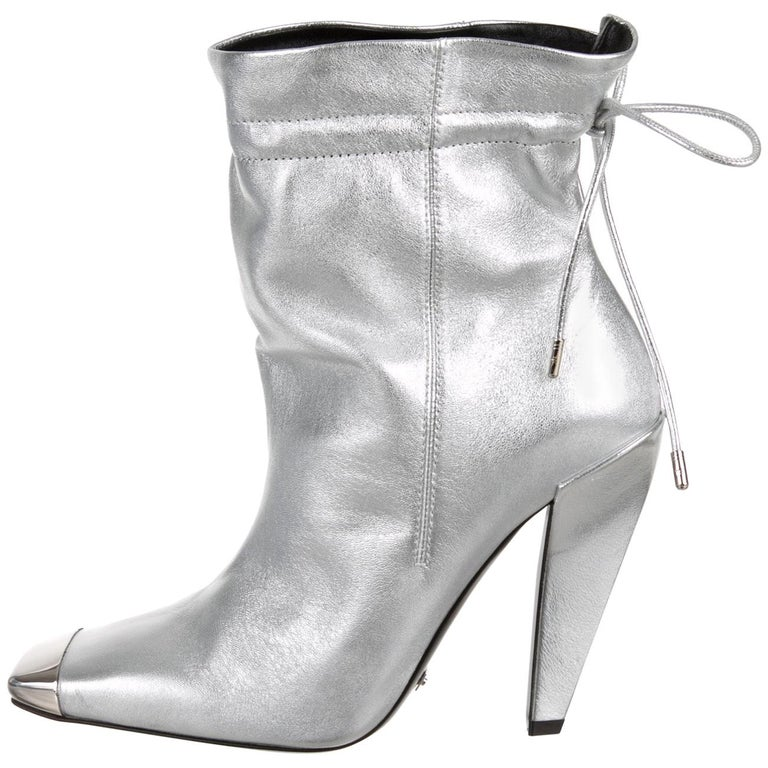 Tom Ford New Silver Leather Metal Toe Drawstring Evening Ankle Boots