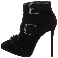Giuseppe Zanotti NEW Black Suede Silver Biker Buckle Ankle Boots Booties in Box