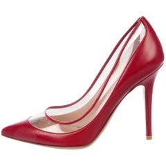 Valentino NEW Red Leather Clear Evening Pumps Heels in Box