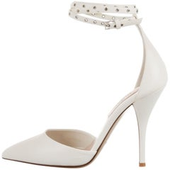 Valentino NEW White Leather Silver Stud Evening Sandals Pumps Heels in Box