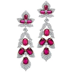 Synthetic Cabochon Ruby Pave Cubic Zirconia Sterling Earrings