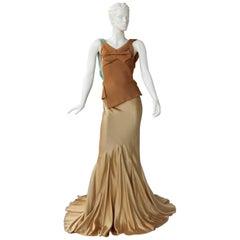 Maison Margiela Gold Kimono Inspired Artwork Bias Mixed Media Dress Gown   New