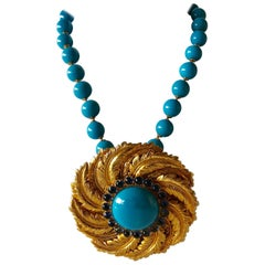 Vintage William de Lillo Turquoise Gold Statement Pendant Necklace