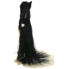 New Alexander McQueen Runway S/S 2011 Ombré Off-Shoulder Dress Gown 38