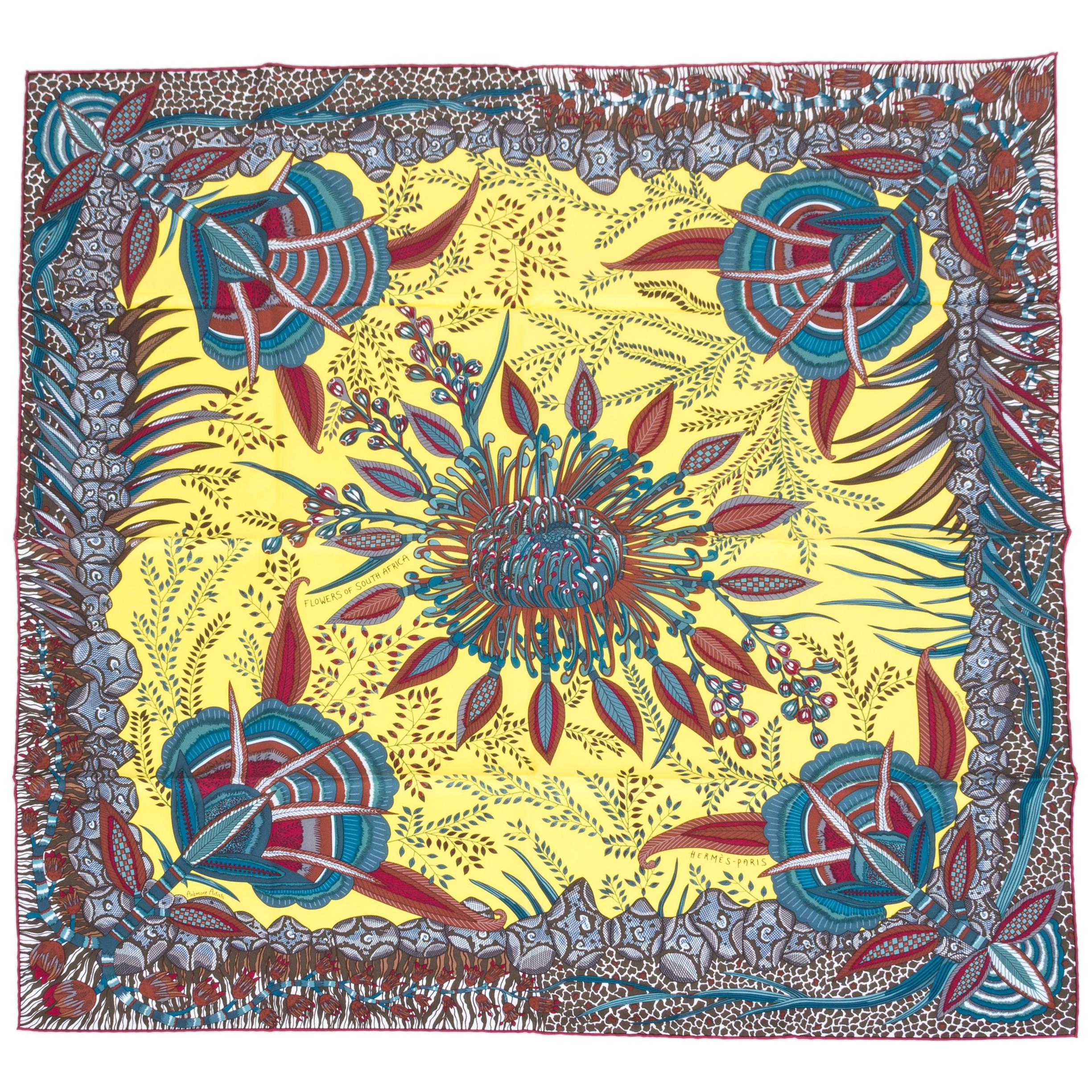 Hermes Flowers of South Africa Silk Scarf