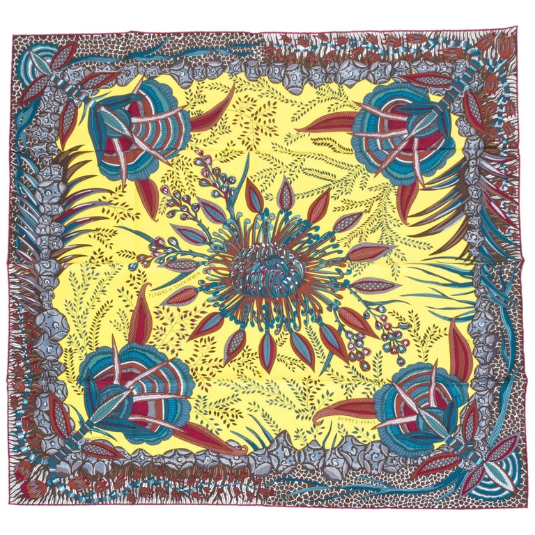 Hermes Flowers of South Africa Silk Scarf For Sale