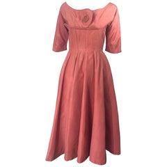 1950s Gigi Young Salmon Coral Pink Silk Taffeta Vintage 50s Fit n Flare Dress