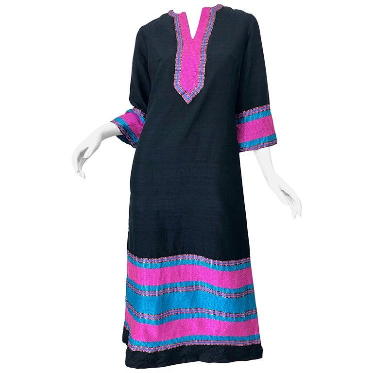 ac7ab46ff 1960s Star of Siam Thai Silk Black Pink Blue Striped Vintage Caftan Maxi  Dress For Sale