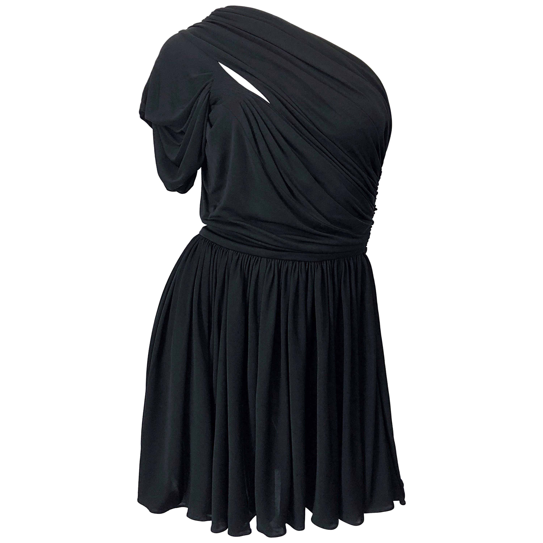 John Galliano Sz 42 6 / 8 2000s Black One Shoulder Grecian Vintage Mini Dress