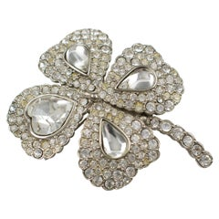 Yves Saint Laurent YSL Jeweled Pin Brooch Four-leaf Clover Clear Rhinestones