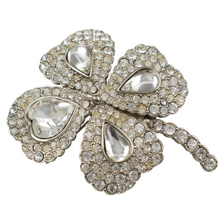 ea9b965dd22 Yves Saint Laurent YSL Jeweled Pin Brooch Four-leaf Clover Clear Rhinestones  For Sale