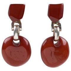 Dominique Denaive Paris Signed Brick Red Resin Dangling Clip on Earrings