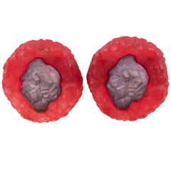 Oversized Italian Luminous Purple and Red Rock Lucite Clip on Earrings