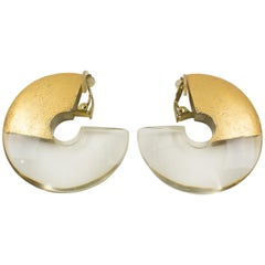 Gerda Lyngaard for Monies Oversized Hoop Clip on Earrings Clear Lucite Gold Foil