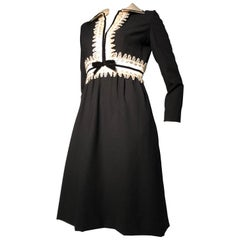 1960s Oscar de La Renta Black Crepe Mini Dress W/ White Inset Waist & Neckline