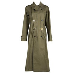 Joseph Khaki Twist Cotton Urb Double Breasted Trench Coat M