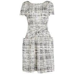 Prada Monochrome Printed Silk Short Sleeve Pocket Detail Belted Dress M