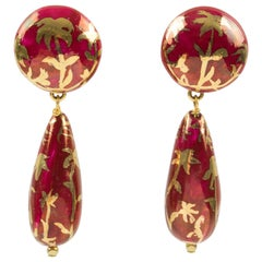 Ines de la Fressange Paris Signed Red Gold Ceramic Dangling Clip on Earrings