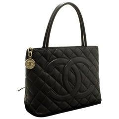 CHANEL Silver Medallion Caviar Shoulder Shopping Tote Bag Black
