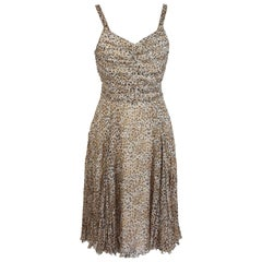 2000s La Perla Dress Spotted Leopard Silk Beige Brown